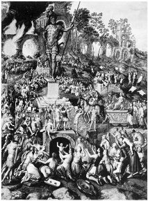A picture of Nebuchadnezzar's Image with a fiery furnace in