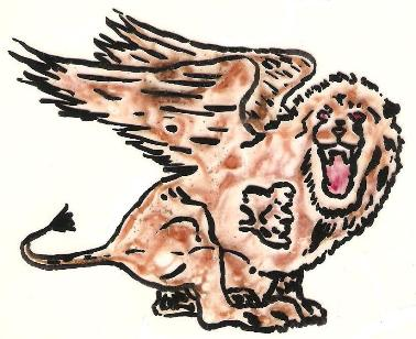 A picture of a ferocious winged lion.