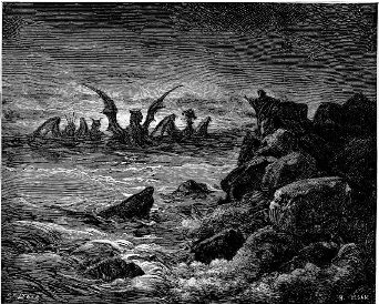 A depiction of four beasts rising up out of a dark and stormy sea.
