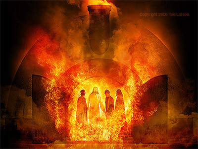 A picture of the Son of God in the fiery furnace with his servants.