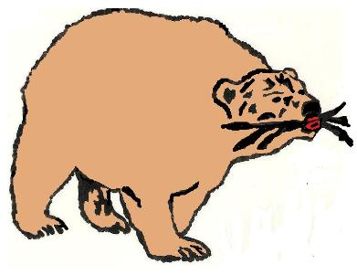 A picture of a bear with three ribs in its mouth.