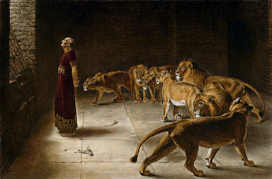 Daniel in the lions' den painting.