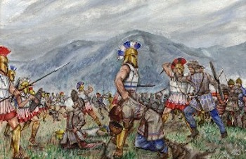 A painting of the battle of Thermopylae.